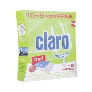 قرص ماشین ظرفشویی 11 کاره 20 تایی کلارو (Claro)